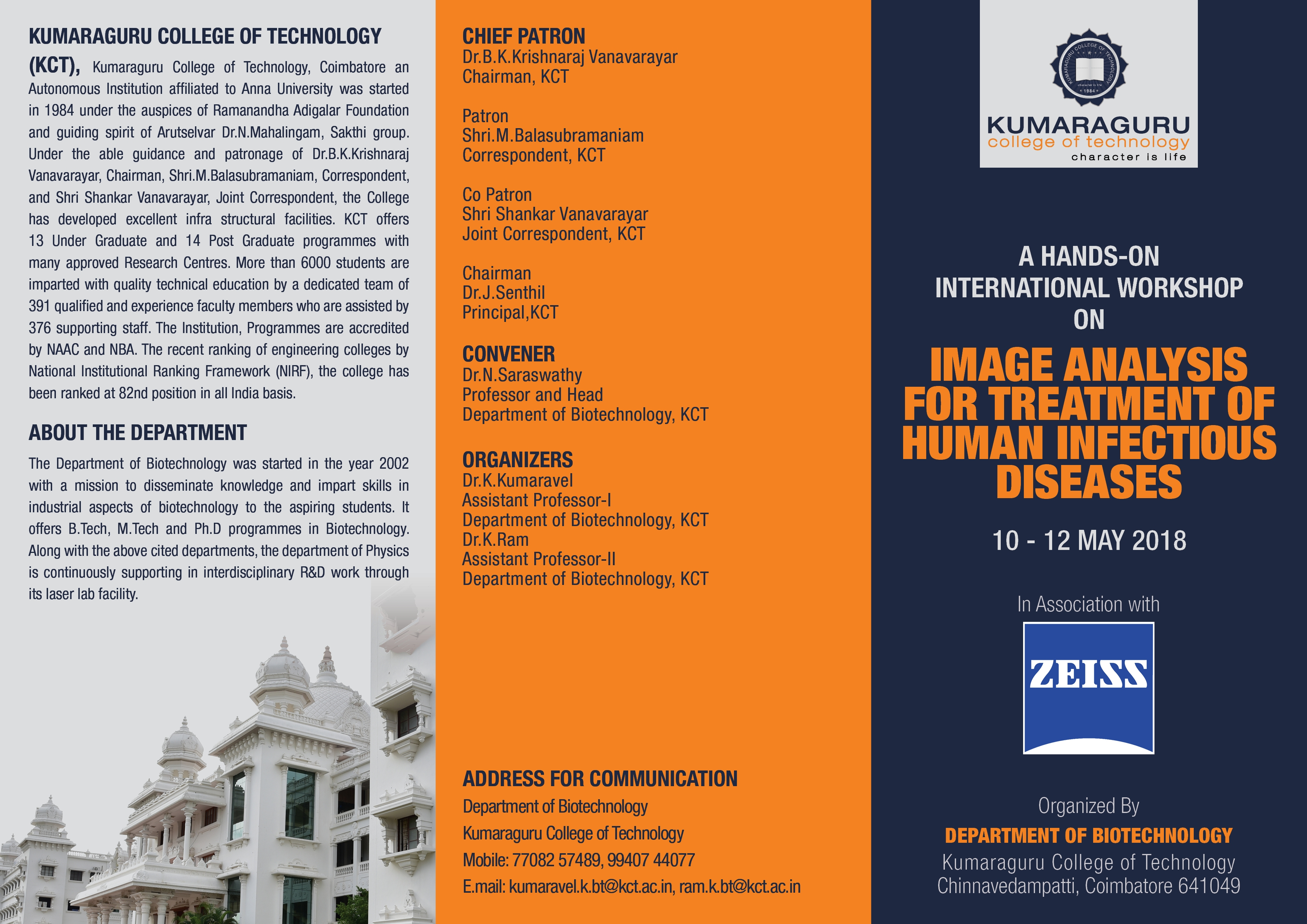 Invitation for participation in Hands on international workshop on Image analysis for Treatment of Human Infectious Diseases,, 10th to 12th May 2018