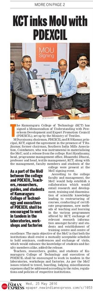KCT signs MoU with PDEXCIL