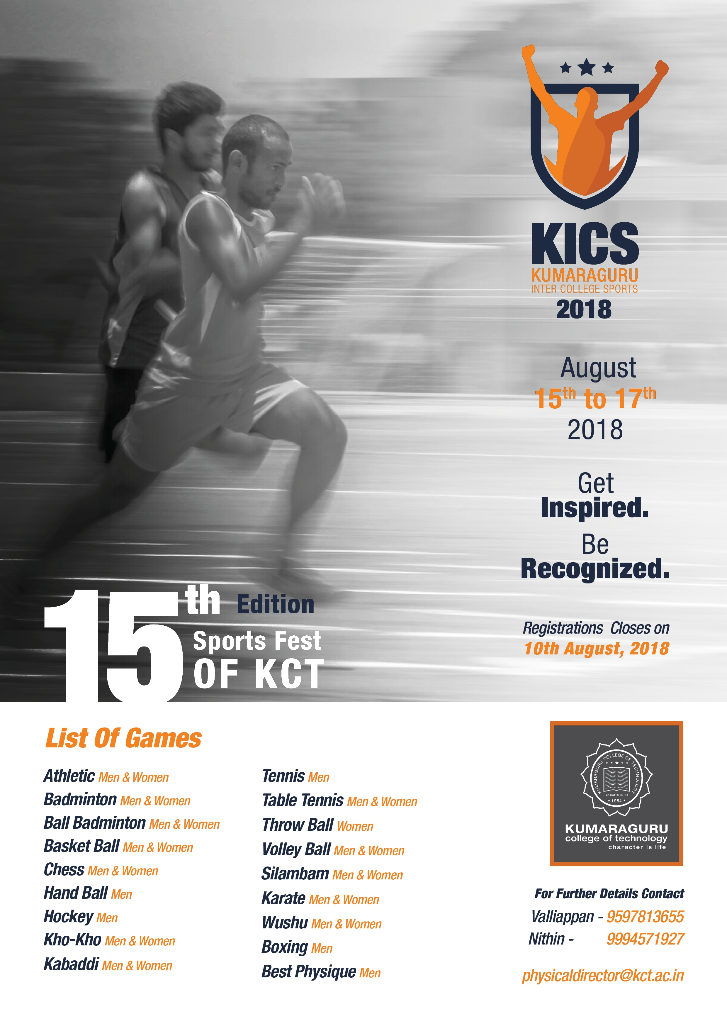 Kumaraguru Inter College Sports invite