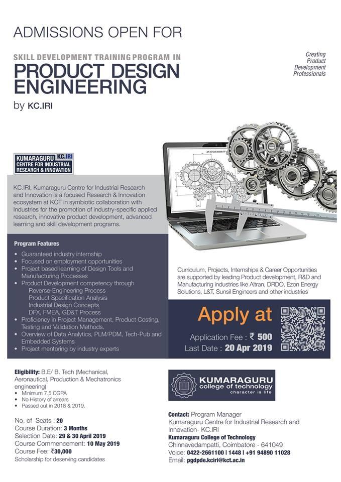 Kumaraguru Centre for Industrial Research & Innovation (KCIRI) - Skill Development Training Program in Product Design Engineering (SDPPDE-2019)